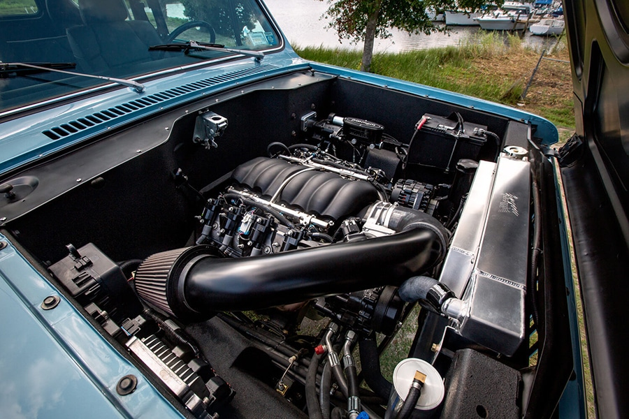engine view of international scout car