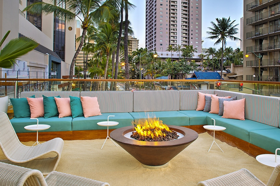 laylow hotel outdoor firepit lounge