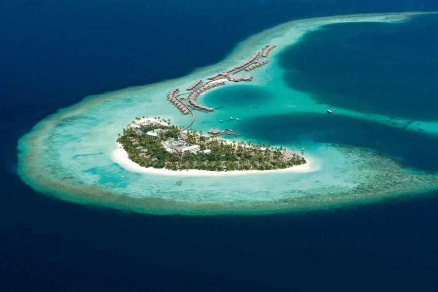 aerial view remote buildings in island