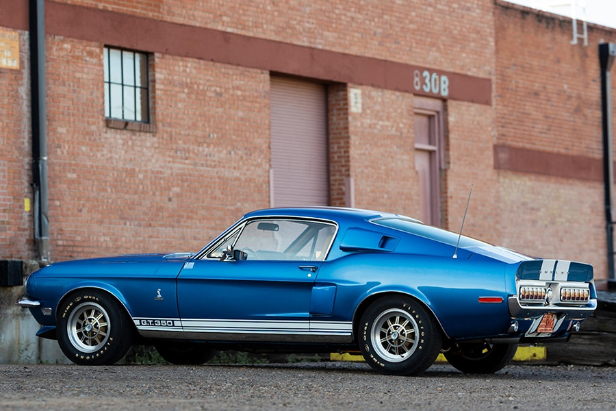 1968 shelby gt350 vehicle on the road