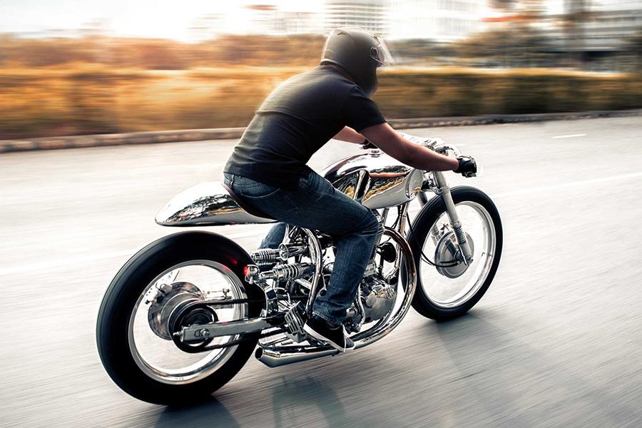 arthur custom bike on the road