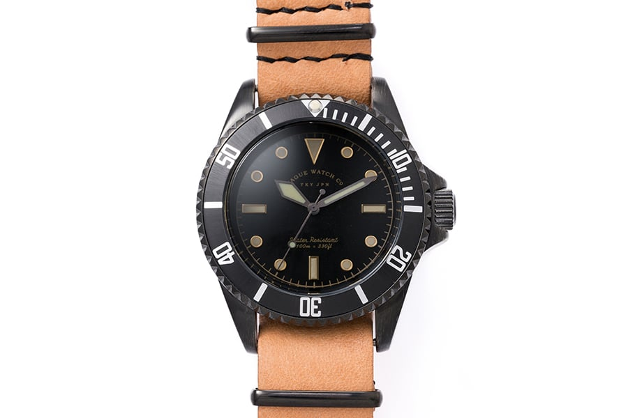 vague watch co. black sub solid bargain