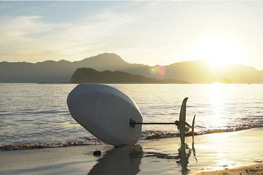 hydrofoil board on the beach
