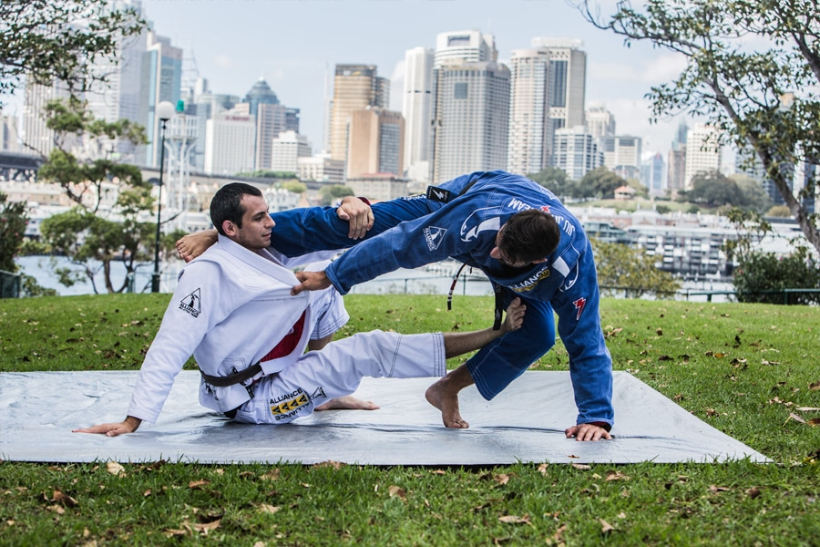 Two BJJ fighters outdoors
