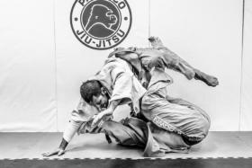 Two men in a Jiu Jitsu fight
