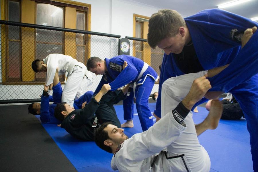 men practicing jiu jitsu on floor
