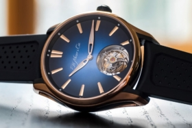H. Moser & Cie Pioneer Tourbillon on its side