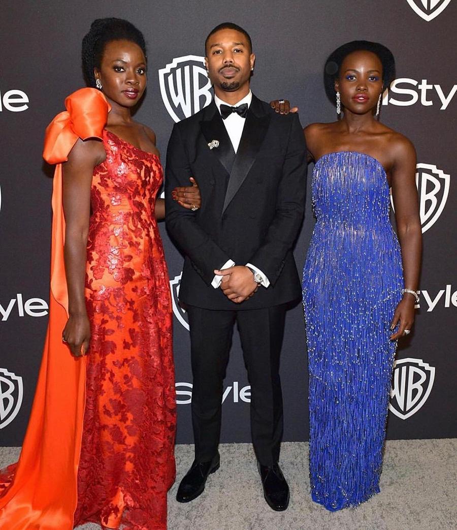 Michael B Jordan in Suit with Lupita Nyongo and Danai Gurira