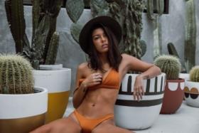 Model in orange lingerie