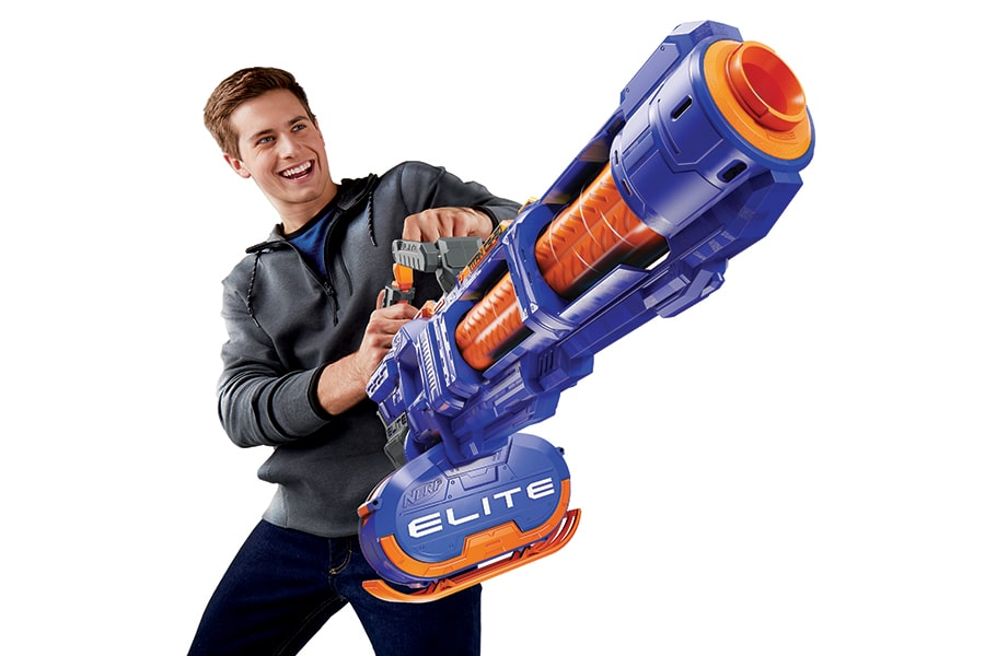 boy with Nerf Gatling Gun