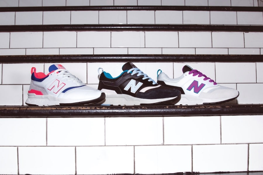 3 colours of new balance sneakers