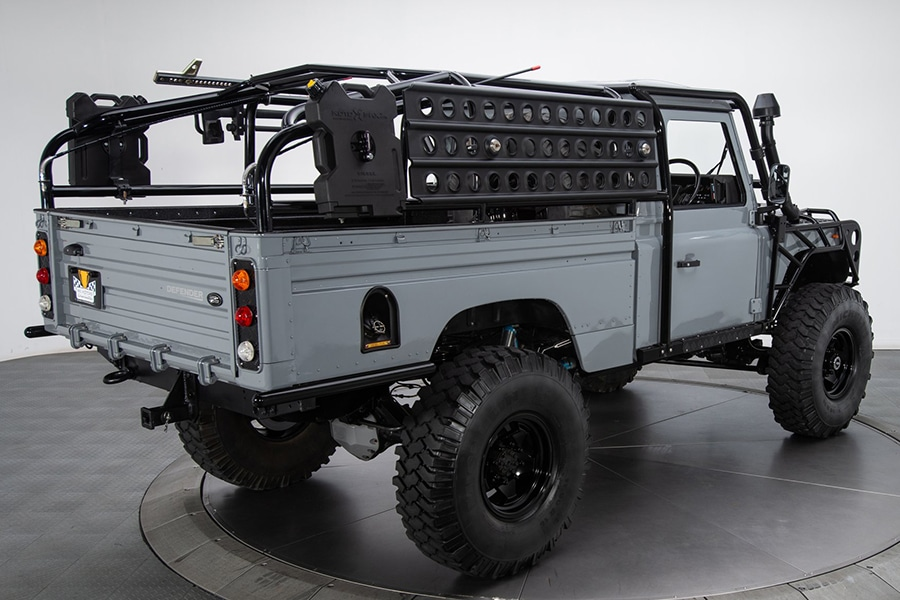 Land Rover Defender back view truck