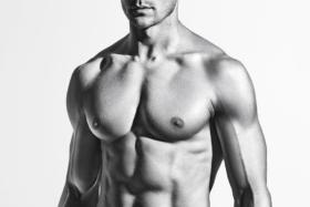 shirtless Man black and white