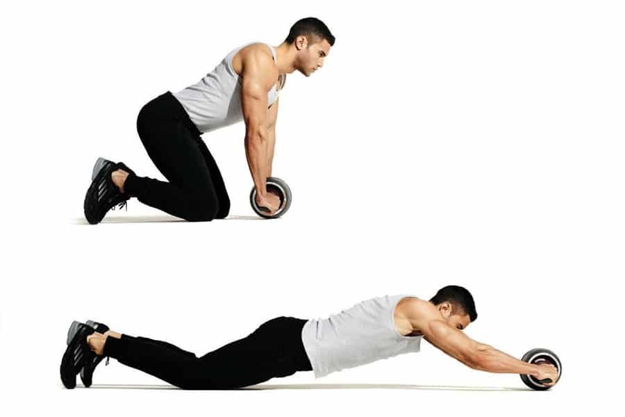 man performing ab wheel rollout