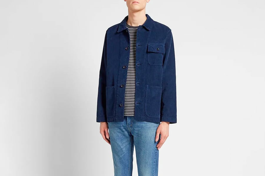 Albam Corduroy Railroad Chore Jacket in Navy