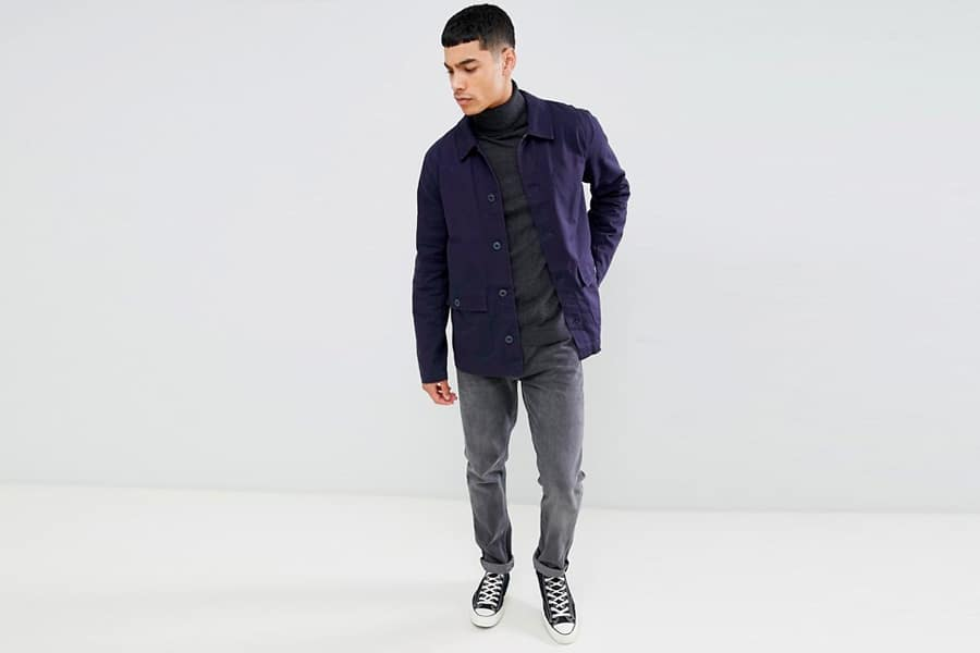 Indigo chore coat over wool shirt