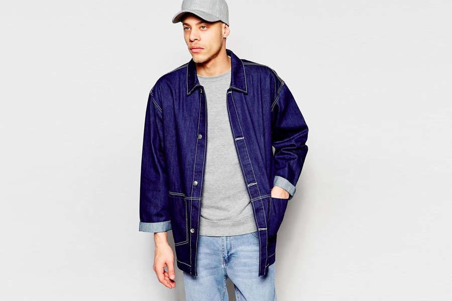 Navy chore Coat with light wash denim