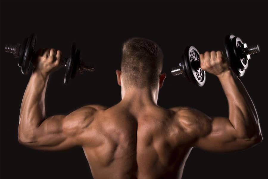 Man lifting weights back
