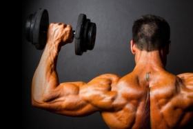 Man lifting weights rear view