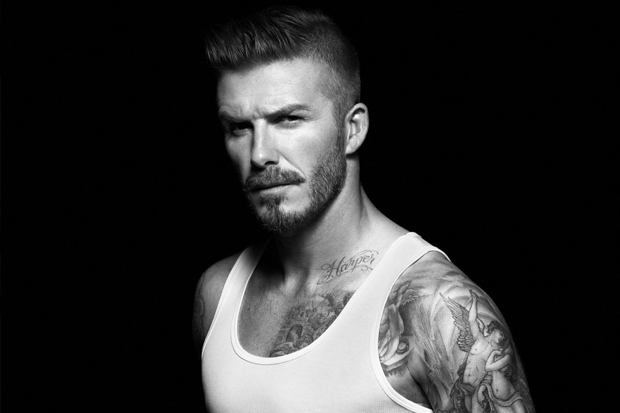 David Beckham male model in white singlet