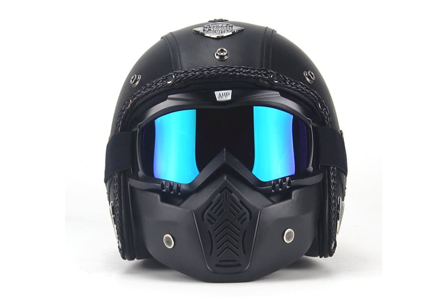 Autopdr open face vintage motorcycle helmet with google mask