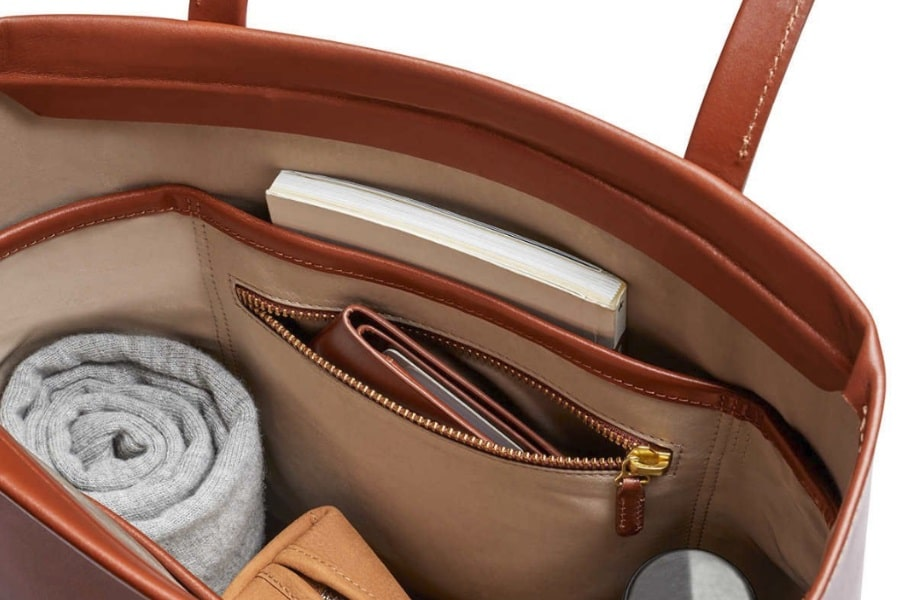 modern leather tote bag