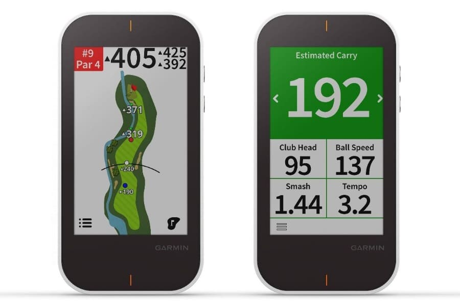 TwoGarmin Approach G80 trackers with different screens