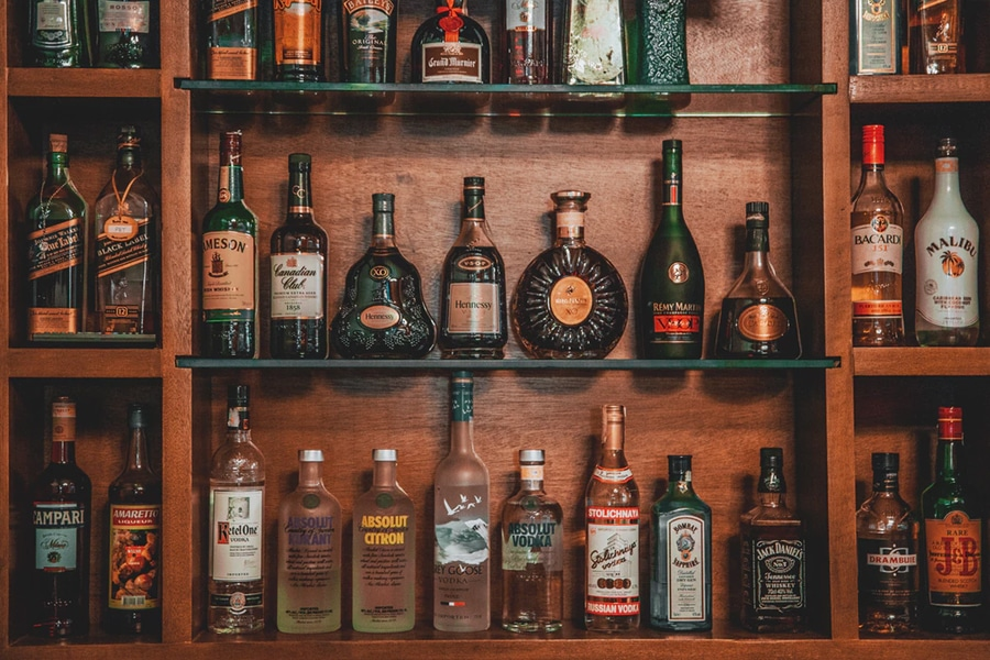 Assorted Whisky Bottle on shelf