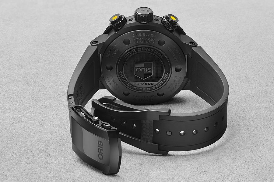 back view oris diver watch
