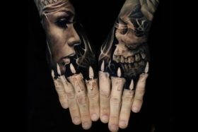 Melting candles fingers tattoo