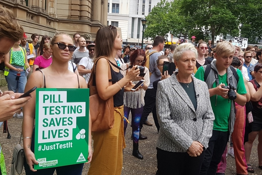 people protesting for pill testing