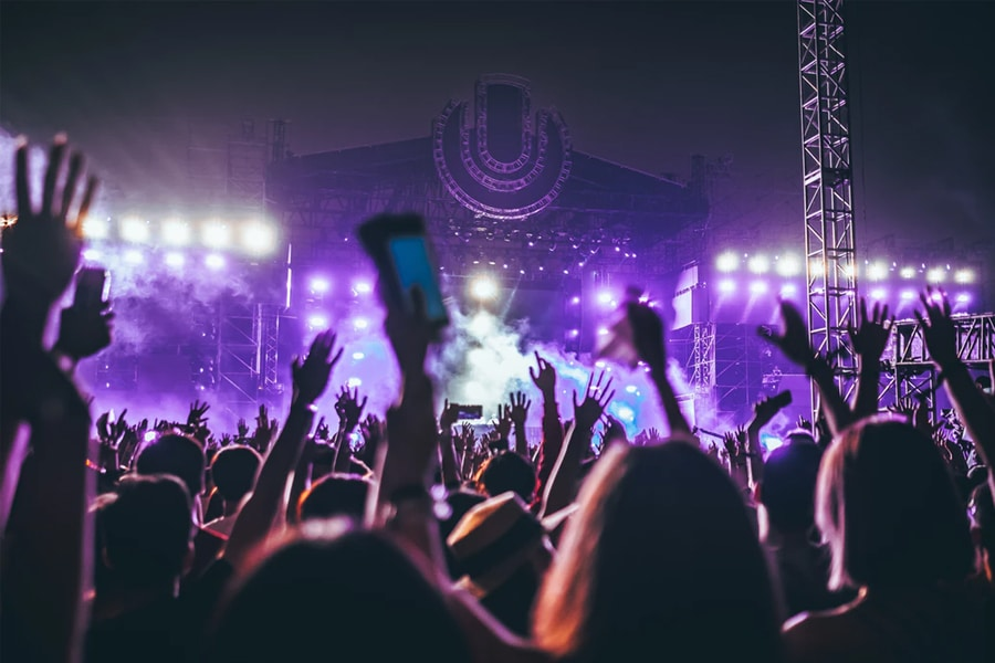 Crowd at night time Ultra Music Festival