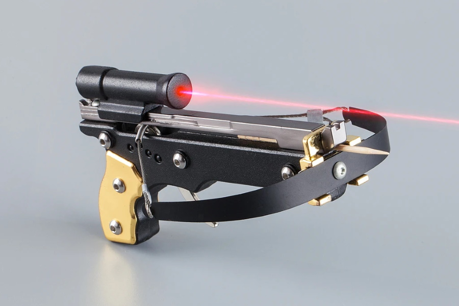 Toothpick Crossbow with red laser pointer