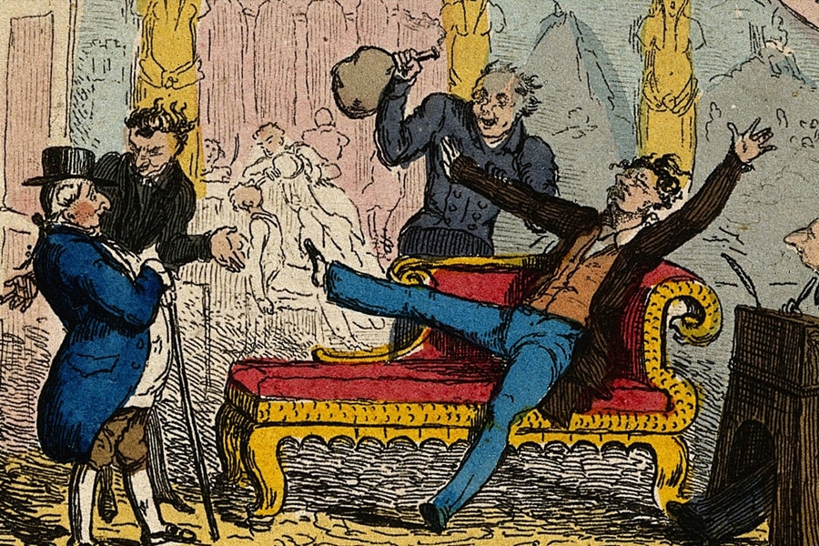 A History of Nitrous Oxide - Victorian painting of laughing gas party