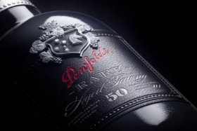 Closeup of the label on Penfolds Tawny bottle
