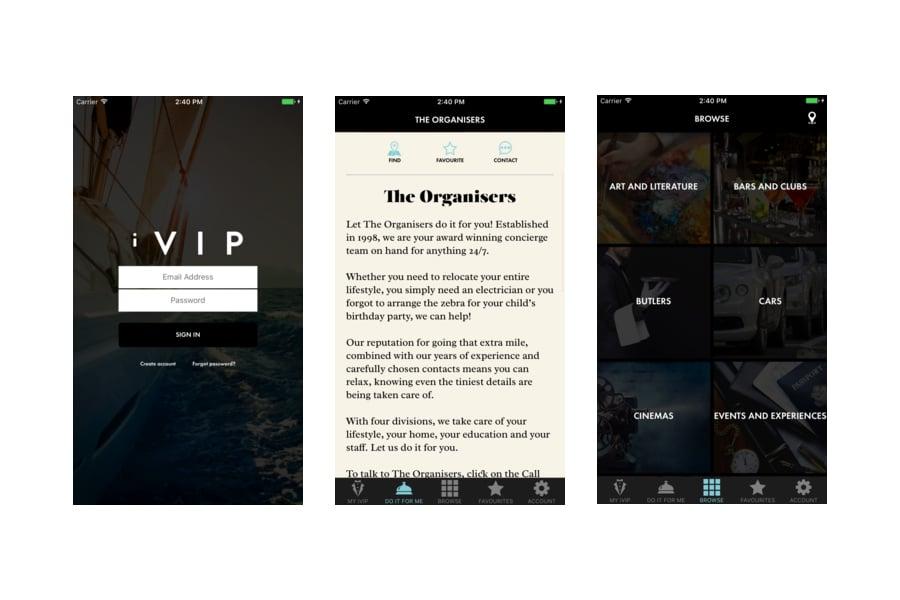 iVIP Black App Screenshots