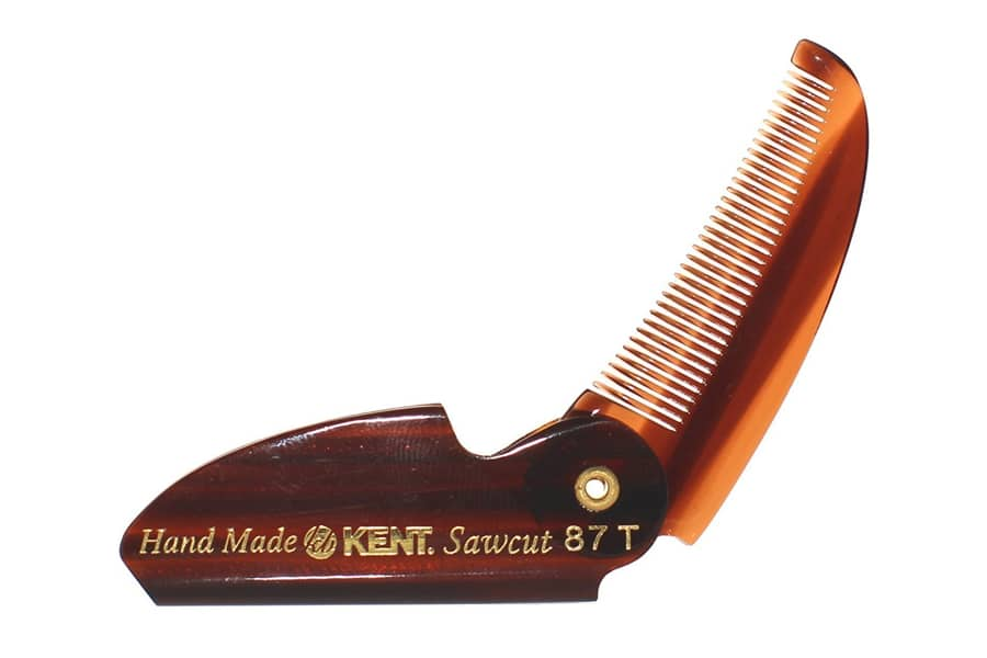 Kent 87T Limited Edition Handmade Saw-Cut, Fine-Toothed, Pocket Folding Beard & Mustache Comb