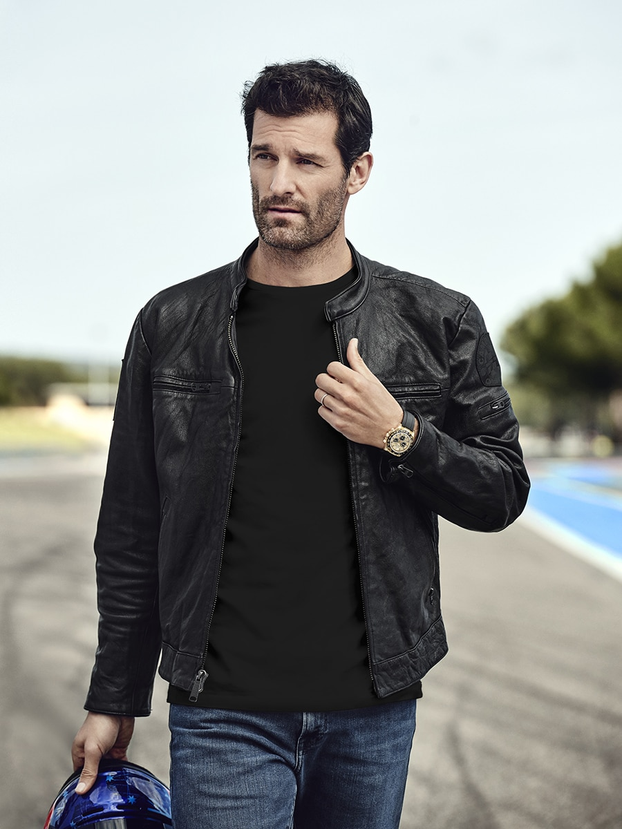 Mark Webber in Leather Jacket and Rolex