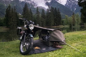 goose tents with motorcycle