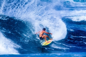 Surfer wearing Quicksilver Boardshorts