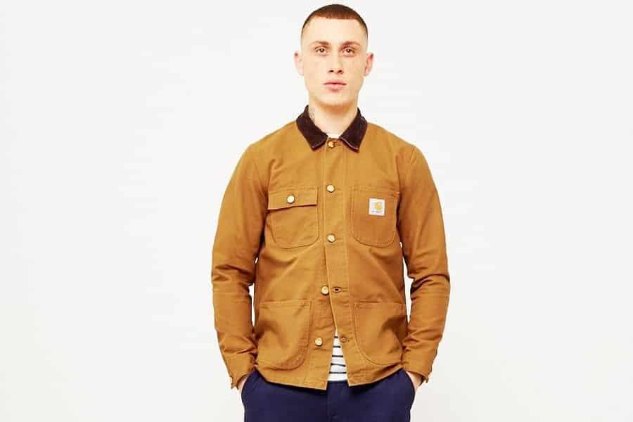 Model in a brown chore coat