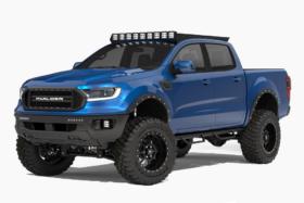Blue 2020 Ford Ranger three quarter front