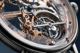 Closeup of the dial ofBreguet Classique Tourbillon Extra-Plat Squelette
