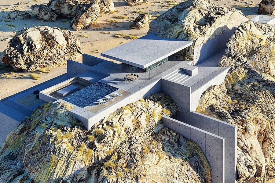 aerial view house in a rock