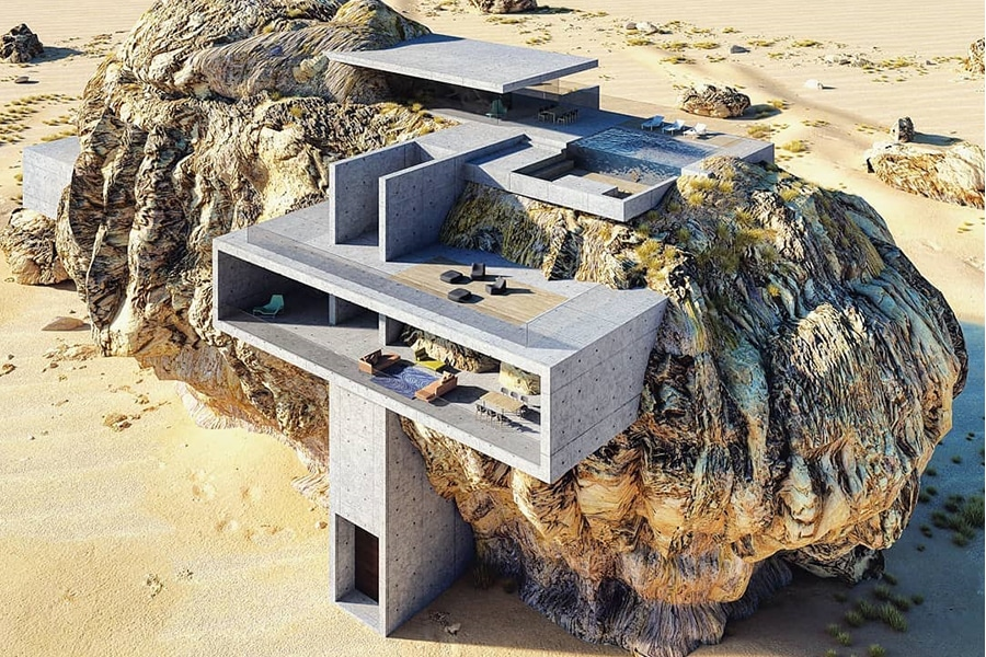 House in a Rock architecture concept
