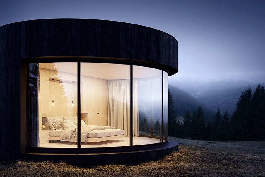 evening view cabin
