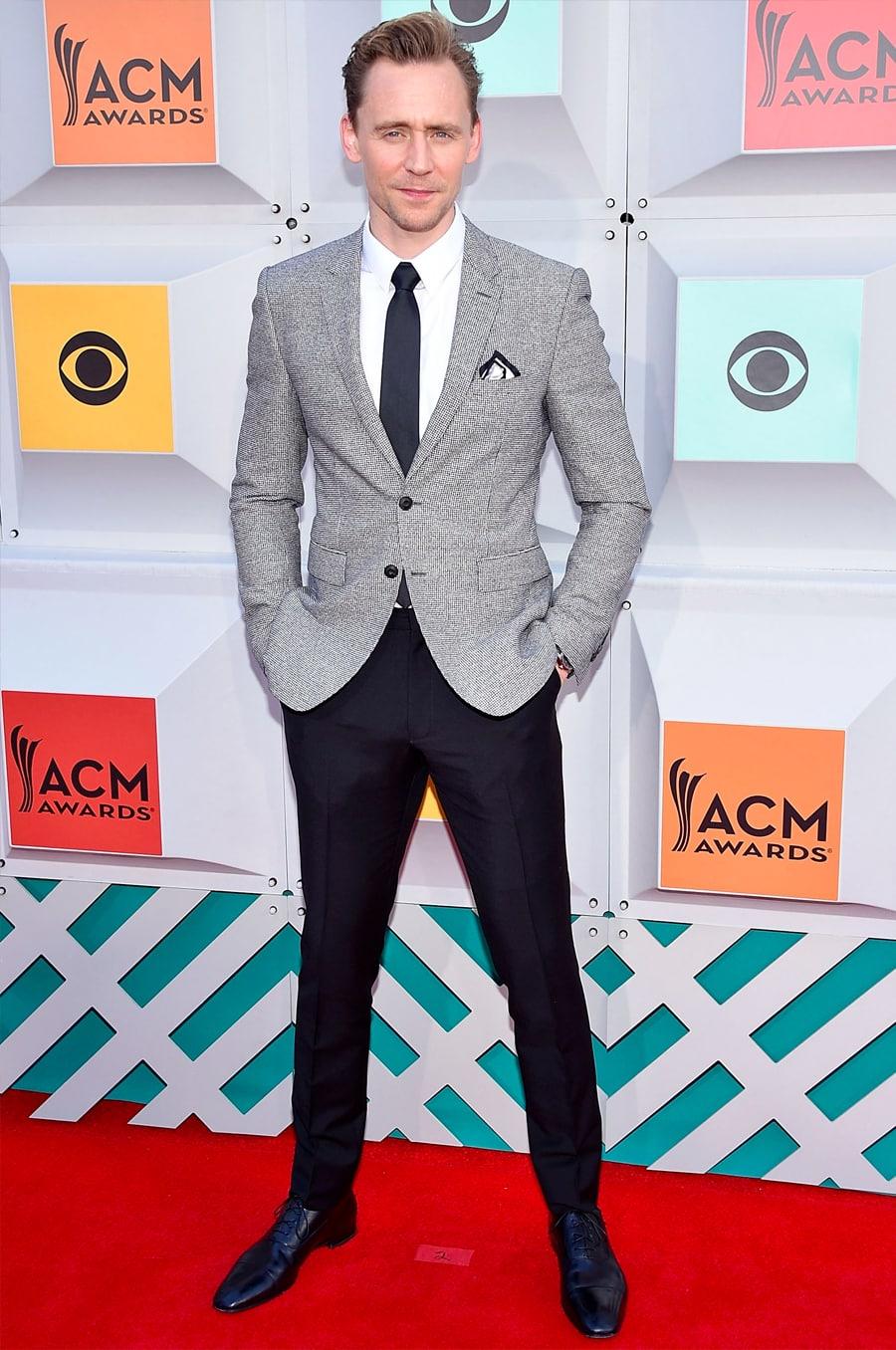 tom Hiddleston in Grey Blazer and black pants