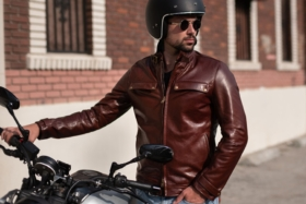 Biker wearingVKTRE heritage leather motorcycle jacket