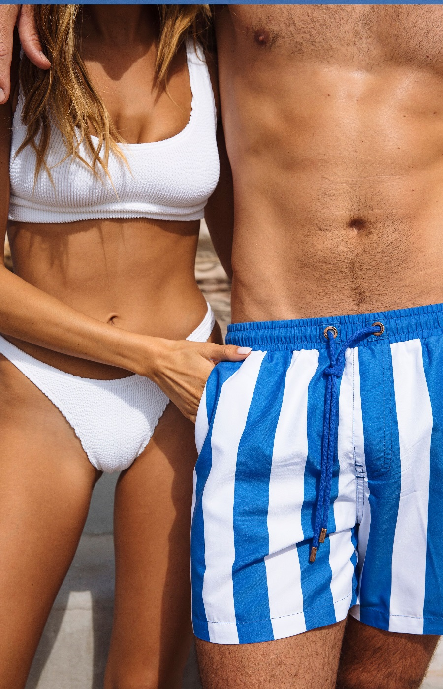 skwosh stripe swim trunks