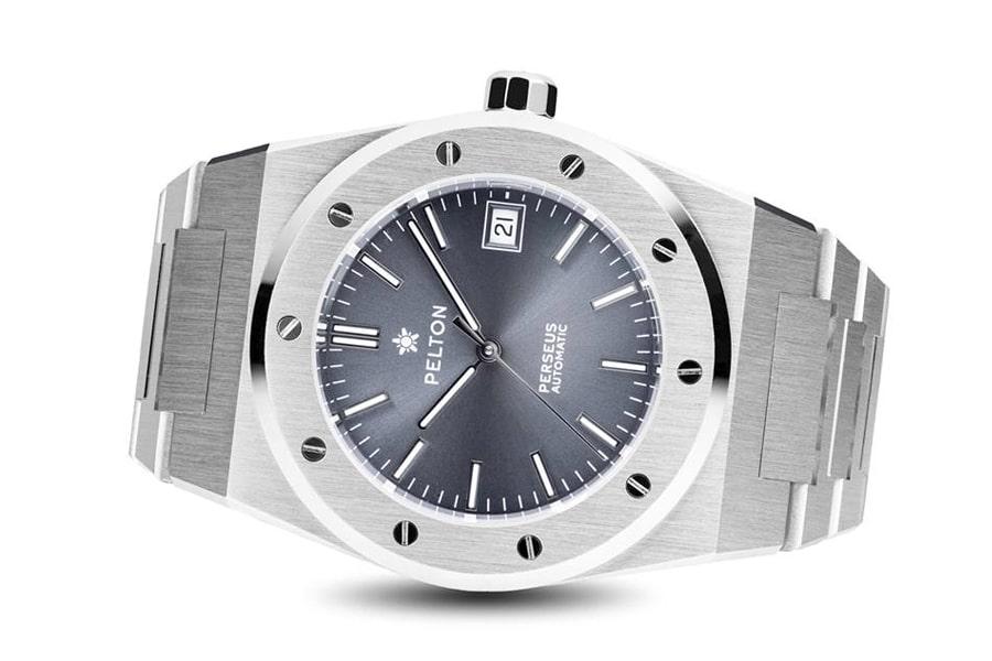 Pelton watch on side